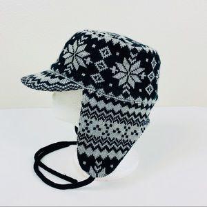Zara Fair Isle Knit Cadet Style Hat W/ Earflaps